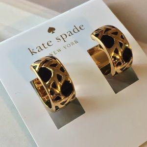 Kate Spade Keswick Black & Gold Huggie Earrings